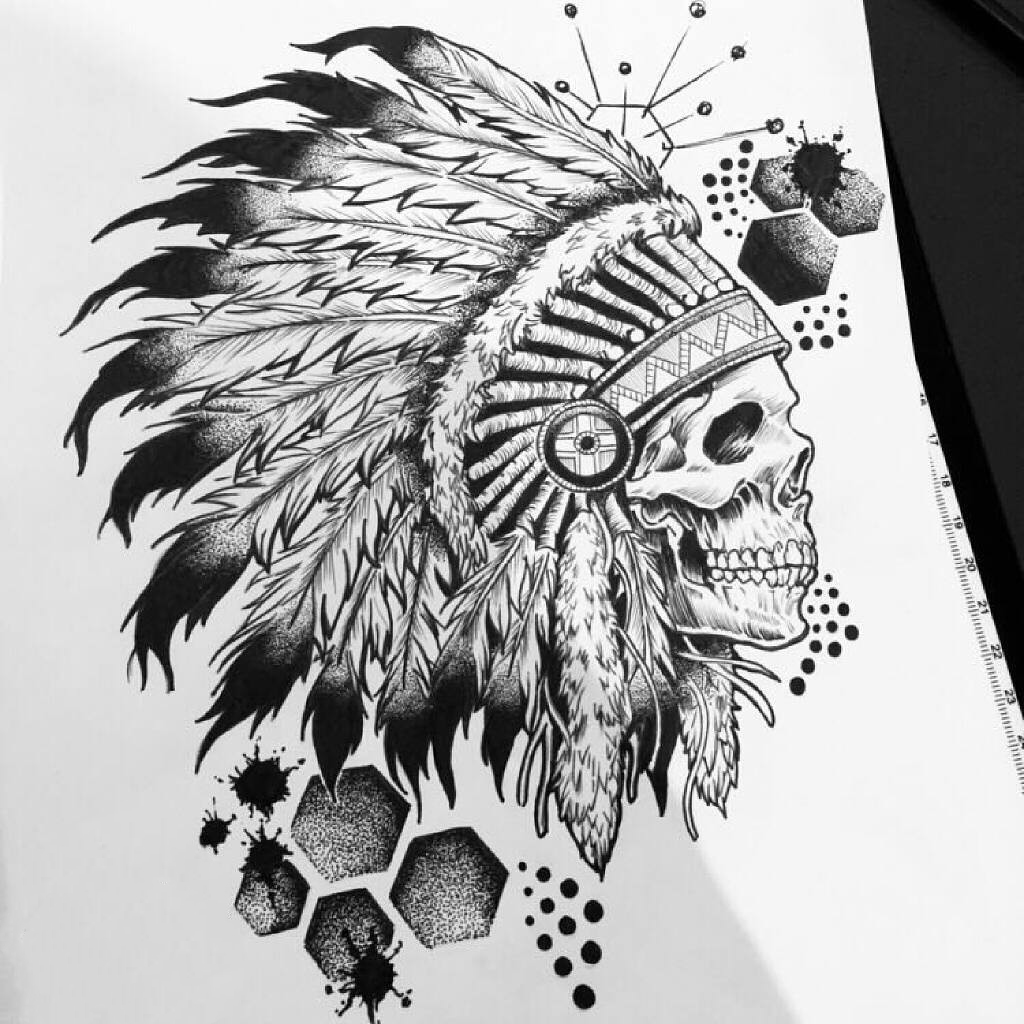 沈阳正洪花园做会计的融先生印第安骷髅纹身手稿图片