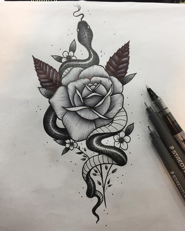 玫瑰蛇纹身手稿